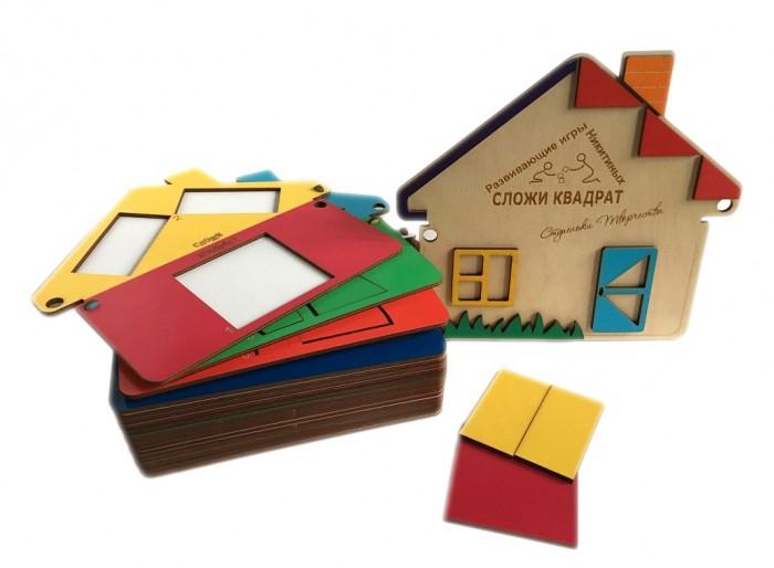 Деревянная игрушка Ступеньки творчества Сложи квадрат. Дом от Семьи Никитиных фото