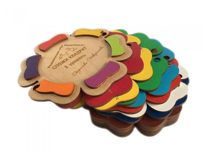 Деревянная игрушка Ступеньки творчества Сложи квадрат. Цветочек 1 уровень от Семьи Никитиных