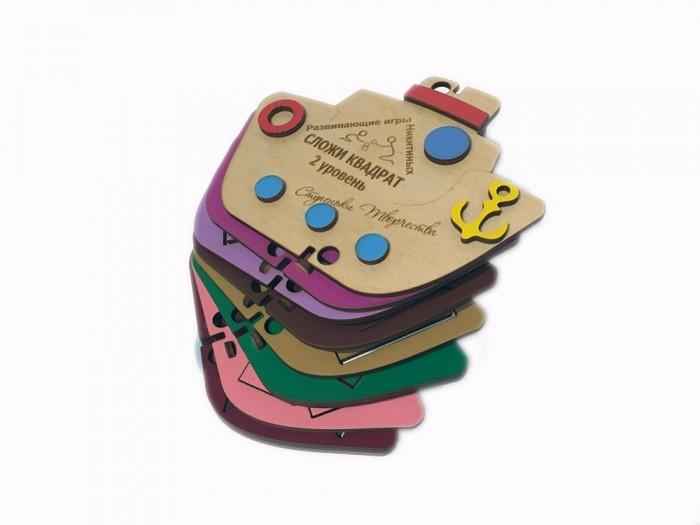 Деревянная игрушка Ступеньки творчества Сложи квадрат. Пароход 2 уровень от Семьи Никитиных
