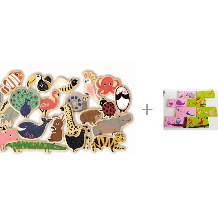 Djeco Развивающая магнитная игра Зоопарк с пазлом-парой Мама и малыш фото