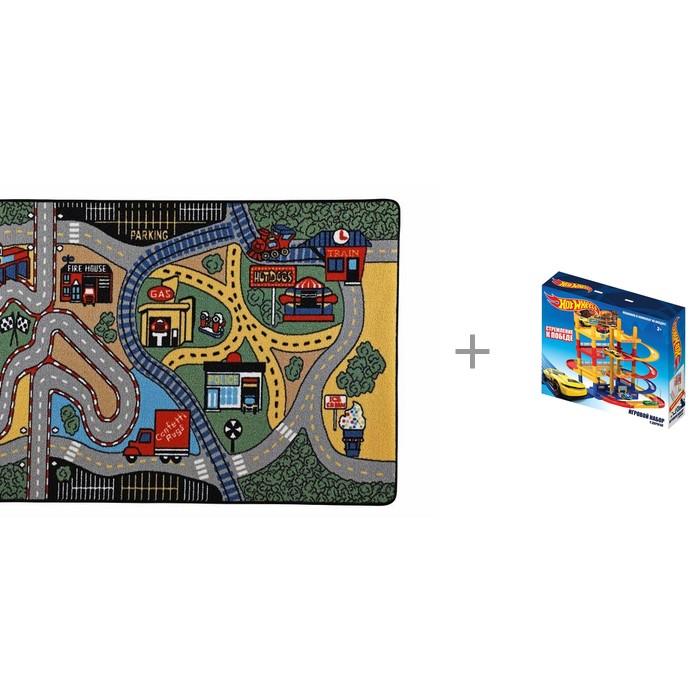 Детские ковры Confetti Kids Коврик Rugs Race 3 мм 133х190 см и Игровой набор Hot Wheels парковка с дорогой