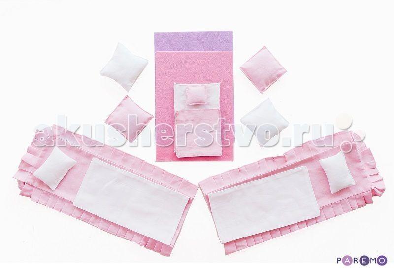 Paremo Набор текстиля для розовых домиков серии ВдохновениеНабор текстиля для розовых домиков серии ВдохновениеКукольный домик Paremo Набор текстиля для розовых домиков серии Вдохновение.   В комплект входит 15 предметов:  для кукольных кроватей (по 2 шт.) - розовые простыни, белые одеяла, белые прямоугольные подушки для люльки - белая простыня, розовое одеяльце, розовая подушечка для дивана - 4 большие подушки (2 - розовые, 2 - белые) розовый коврик в спальню сиреневый коврик в гостиную.<br>