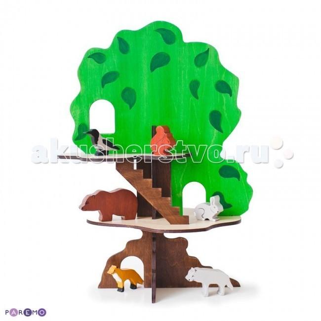 Деревянная игрушка Paremo конструктор Дом-дерево с 6 фигурками животныхконструктор Дом-дерево с 6 фигурками животныхДеревянная игрушка Paremo конструктор Дом-дерево с 6 фигурками животных - представляет собой большой развивающий игровой набор.  Основные характеристики: домик-дерево собирается по принципу пазла. Для сборки не требуется никаких специальных навыков и дополнительного оборудования в домике 2 этаж, лестница, окошки и дупло ствол дерева и лестница - темно-коричневый, этажи - бежевые, а крона - ярко-зеленая с прорисованными большими листьями игрушка достаточно большая, чтобы с ней могли играть сразу 2 ребенка.  В комплекте 6 фигурок: медведь, волк, лиса, заяц, белка, ворона.<br>