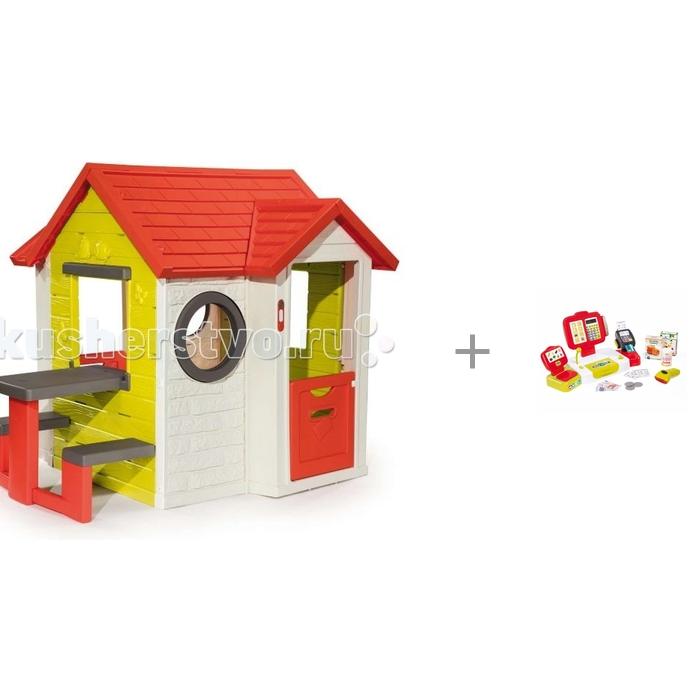 Smoby Игровой детский домик со столом с электронной кассой с аксессуарами