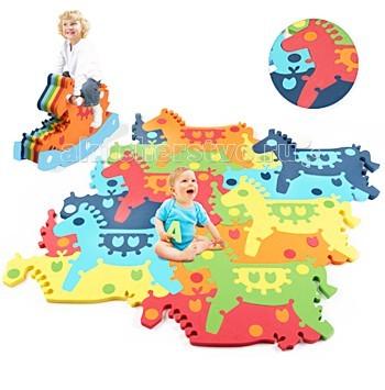 Игровой коврик Tessell пазл-качалка Лошадкапазл-качалка ЛошадкаРазвивающие пазлы Tessell основаны на теории составления мозаики, которая может легко трансформироваться из плоскостной игрушки-коврика в объемную лошадку, которая в свою очередь не просто является предметом сборки, но и может использоваться как игрушка-качалка!  Развивающие пазлы Tessell яркие и красочные, каждый основной элемент состоит из нескольких составляющих - кружочки, листики - что позволяет детям создавать различные цветовые гаммы, правильно формируя у ребёнка восприятие цвета.  Для того чтобы получился коврик или игрушка, маленькому творцу необходимо научиться переворачивать изображение в уме, различать элементы по цвету, размеру, форме.  Не менее важны и усидчивость, терпение, умение концентрировать внимание, способность доводить начатое дело до конца. А развитие мелкой моторики, сенсорики, координации движений - вообще первостепенные задачи в раннем возрасте, и в этом смысле пазл может оказать малышу неоценимую услугу.  3D-пазлы «Tessell» позволяют собрать плоский коврик или объёмную игрушку из основных элементов, т.о., дети решают загадку, превратив это занятие в увлекательную игру. Высококачественный упругий материал безопасен для человека и окружающей среды. Использование с 6 месяцев: Пазл состоящий из геометрических фигур разного цвета, собирается в большой развлекательный коврик - игровую площадку. Использование от 1 года: Составление деталей в единое целое - в плоскостной коврик или в объемную игрушку - лошадку-качалку. Размеры коврика: длина - 110 см, ширина - 110 см, толщина - 1,8 см  Размеры игрушки лошадки-качалки: длина - 75 см, высота - 45 см, ширина - 29 см<br>