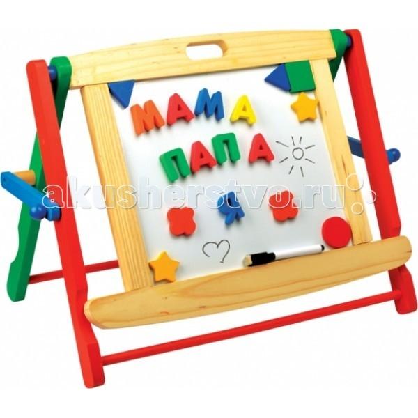Мир деревянных игрушек (МДИ) Школьная доска настольнаяШкольная доска настольнаяМДИ Школьная доска настольная.  Школьная доска представляет собой устойчивый деревянный красочный настольный мольберт-планшет. Одна ее сторона магнитная белая, предназначенная для букв и цифр, вторая грифельная черная – для мелков и фломастеров. Цифры, буквы и геометрические фигурки на магнитиках входят в набор, изготовлены из мягкого полимера. Кроме них в комплекте четыре разноцветных мелка, а также фломастер-маркер на водной основе и губка для стирания. Для этих предметов доска имеет специальную подставку-полочку.  У доски небольшой вес, она компактно складывается, не занимая много места для хранения. Ребенок-дошкольник, как правило, уже знает буквы, умеет читать по слогам и может из букв составлять не только слова, но и короткие предложения типа Ура идем в школу. Старшие члены семьи могут на доске из букв составлять задания для ребенка: Покорми рыбок, Убери игрушки и т.п. А потом рядышком выставлять цифрами оценки за работу – 5, 4 и пр.  Задания для овладения навыками счета могут быть и такими: «Мы купили тебе пять яблок, два из них ты уже съел, сколько осталось? на доске ребенок должен разместить соответствующие цифры. Папа позавчера уехал на три дня в командировку, сколько дней осталось до его возвращения?. Из магнитных фигурок на доске как из мозаики можно составлять домики, узоры и т.п. - нужно только давать ребенку такие задания. На черной доске можно писать и рисовать разноцветные картинки типа мама, папа и я, улица, клумба, речка и прочее, что спасет обои в доме от художественного творчества ребенка.  А еще время от времени можно сдавать экзамены, выполняя задания взрослых по чтению, счету, рисованию и т.п. Выдумка старших членов семьи может найти еще множество вариантов активизации мыслительной деятельности детей с помощью школьной доски.<br>