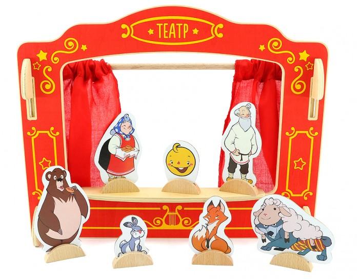 Деревянная игрушка Мир деревянных игрушек (МДИ) Кукольный театр Д170Кукольный театр Д170Деревянная игрушка МДИ Кукольный театр.  В комплект входит  театральная сцена, три замечательные сказки Маша и медведь, Три поросенка, Колобок, 16 персонажей, удобные подставки и палочки для игры. Меняйте героев сказок и придумывайте свои театральные постановки.  Размер: 42 x 6 x 42 см<br>
