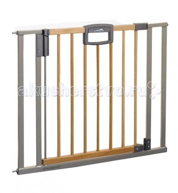 Geuther Ворота безопасности Easy Lock Wood 80,5-88,5х82,5cмВорота безопасности Easy Lock Wood 80,5-88,5х82,5cмВорота безопасности Geuther Easylock, 80,5-88,5х82,5cм.  Уникальный механизм позаботится о том, чтобы Вы могли спокойно перемещаться, занимаясь Вашими повседневными делами: слабого толчка достаточно, чтобы калитка плавно закрылась. Разумеется, механизм работает в двух направлениях. Если необходимо, чтобы калитка открывалась или закрывалась только с одной стороны, об этом позаботится поставляемый в комплекте стопор.  Основные характеристики барьер-ворот Easy Lock Wood:  красивый дизайн и комбинированный натурально-серебряный украсят интерьер любого дома  устойчивы, имеют опорное основание  удобный механизм защелкивания, легко устанавливаются без специального крепления  при установке не требуется дрель или инструменты, после демонтажа не оставляют следов на стенах  защищает ребёнка от нежелательного прохода через дверной проём или падения с лестницы  уникальный защитный механизм позволит взрослому легко пройти через ворота, создавая в то же время непреодолимое препятствие для малыша  открывается в обоих направлениях  для удобства перемещения ворота оснащены специальным порогом с защитой от скольжения  если вам нужно переместить ворота в другой дверной проём по мере роста ребёнка вы можете сделать это без ущерба для ремонта в квартире или доме  изготовлены из алюминия и дерева высочайшего качества высота: 81,5 см<br>