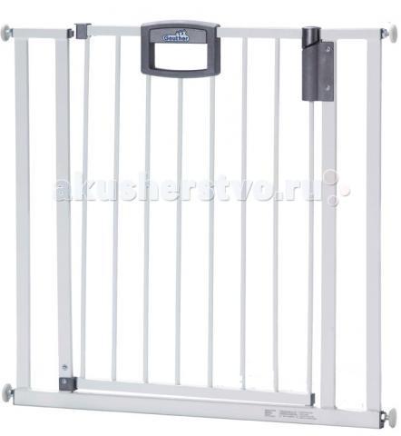 Geuther Ворота безопасности Easylock 80,5 - 88,5 смВорота безопасности Easylock 80,5 - 88,5 смВорота безопасности Geuther Easylock, подходят для проемов 80,5 - 88,5 см, Открываются в обе стороны, крепятся на распорках. Алюминий. Могут быть расширены с помощью дополнительных секций до ширины 134 см  Ворота безопасности Geuther Easylock 4792 защищают ребенка от нежелательного прохода через дверной проем или падения с лестницы. Уникальный защитный механизм позволит взрослому легко пройти через ворота, а для малыша это будет непреодолимым препятствием.  Ворота Easylock 4792 можно установить в дверной проем, арку, так же и на лестницу. Для установки на лестницу необходимым условием является наличие 4-х точек упора с обоих сторон ворот (внизу и вверху). Для примера: с одной стороны стена, с другой стороны прямоугольная балясина установленная прямо напротив стены, и прямая сторона которой параллельна стене. Возможна установка ворот в круглые балясины, для этого необходимо дополнительно купить специальную Y-опору.  Ворота снабжены механизмом доводчика (автоматическое закрывание)  Ворота безопасности устойчивы, имеют опорное основание.  Ворота легко устанавливаются благодаря специальному креплению, при установке не требуется использование инструментов. После демонтажа не остается следов на стенах.<br>