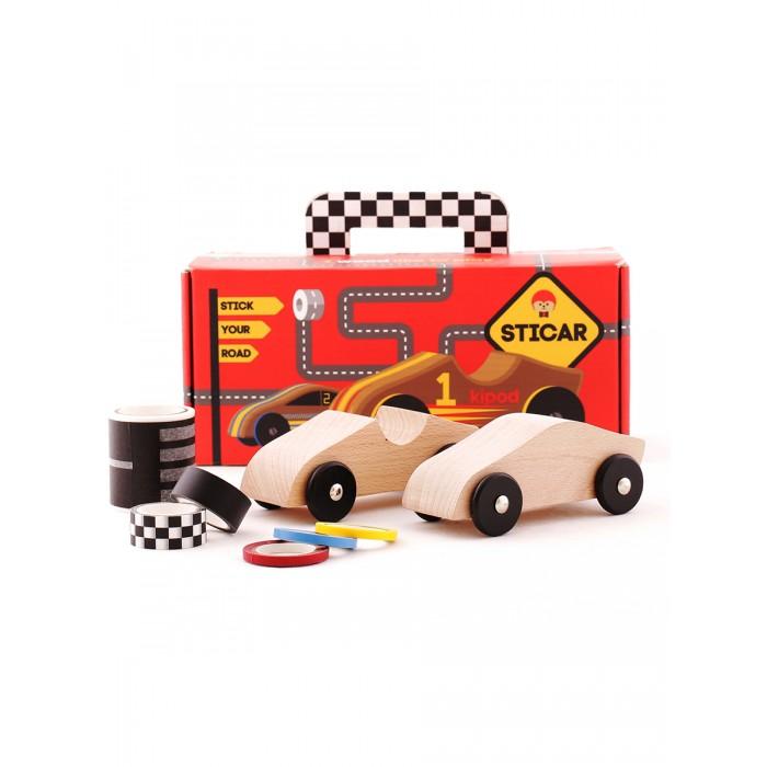 Деревянная игрушка Kipod Toys Набор Машинки на трассе с наклейками