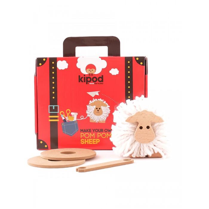 Деревянная игрушка Kipod Toys Игровой набор пом-пон Создай овечку