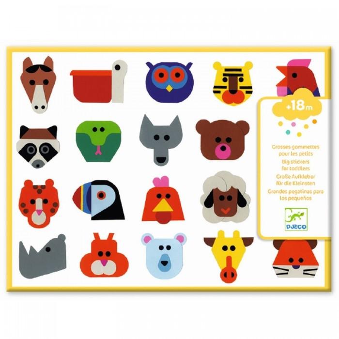 Купить Детские наклейки, Djeco Набор объемных наклеек Животные
