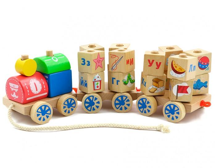 Деревянные игрушки Мир деревянных игрушек (МДИ) Паровозик Алфавит паровозик д163 мир деревянных игрушек