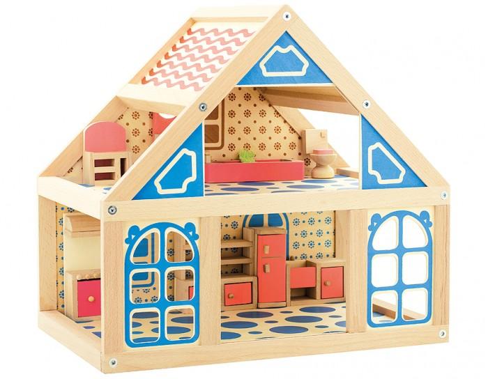 Мир деревянных игрушек (МДИ) Кукольный дом 1Кукольный дом 1МДИ Кукольный дом 1.  Кукольный домик из экологически чистого дерева. Дом довольно большого размера, но втоже время и компактный за чсет 2-го этажа. Куклы в набор не входят.    Для домика можно специально изготовить маленьких кукол своими руками, попутно обучая ребенка швейному мастерству. Также можно сшить постельные принадлежности, скатерть и другие, полезные в быту вещи, чтобы в домике ребенка царил уют, комфорт и порядок. Домик из дерева является безопасной игрушкой, которая не поранит ребенка, не разобьется, играть с таким – одно удовольствие! Игрушка прослужит ребенку много лет, потому как имеет высокое качество и износостойкость.  Домик имеет два этажа, на первом расположена лестница наверх и несколько комнат, второй этаж – мансарда. Кроме всего прочего, в домике есть и окна, на которые можно повесить занавески, сшитые руками ребенка. Обустраивать домик можно бесконечно, это увлекательное и интересное занятие. Например, в набор можно докупать различные предметы. Такие, как: набор посуды, веник для уборки, одежду для кукол, ковры. Но можно сделать все самостоятельно, руками ребенка из подручных материалов для творчества. Выбирая краски, необходимо обращать внимание на нетоксичные, чтобы они не вызывали аллергии у ребенка.  Деревянный домик станет отличным подарком ко дню рождения или к новогодним праздникам. Надолго станет любимым и поможет занять ребенка на долгое время. Детские игрушки из дерева таят в себе глубокий смысл, это единение с природой, и ваш оберег. Деревянные детские игрушки раскрывают сказочный мир, который живет внутри нас, вместе с ними сказка оживает.<br>