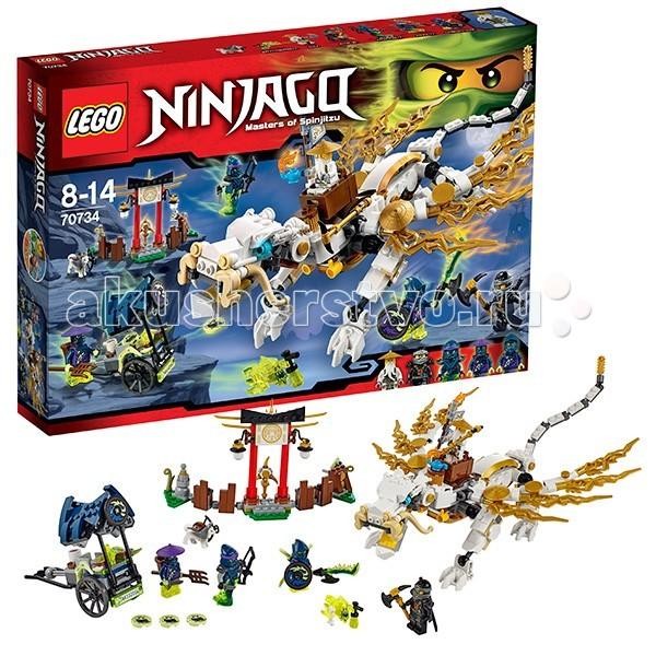 Конструктор Lego Ninjago 70734 Лего Ниндзяго Дракон Мастера ВуNinjago 70734 Лего Ниндзяго Дракон Мастера ВуКонструктор Lego Ninjago Ниндзяго Дракон Мастера Ву - собирается из 575 деталей.  Из элементов комплекта вырастает целая чайная ферма. Небольшой заборчик стоит по обе стороны святилища, где хранится аэроблейд – мощное оружие с тремя клинками.  В наборе: 5 фигурок и скример, успевший частично превратить некоторых героев в призраков.   В арсенал оружия ниндзя включены: каменный посох, лук, кинжал, топор, катана, нож, щит и вилы.   На фигурке собаки сэнсэя закреплен арбалет. Собранная из деталей повозка призрачного рикши стреляет дисками.  Роскошный бело-золотой дракон в китайском стиле оборудован съемным седлом. Челюсти дракона открываются, крылья, хвост и ноги сгибаются. На спине закреплен столик с чашкой и чайником. Зверь украшен золотыми деталями.<br>