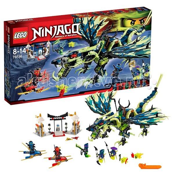 Конструктор Lego Ninjago 70736 Лего Ниндзяго Атака дракона Морро 658 деталейNinjago 70736 Лего Ниндзяго Атака дракона Морро 658 деталейКонструктор Lego Ninjago Ниндзяго Атака дракона Морро - собирается из 658 деталей.  И снова Силы Зла и Природы схватились в поединке. В это раз за магический артефакт Кристалл Мира. Ниндзи Джей и Кай призваны защитить гробницу Первого Мастера Кружитцу от вторжения Призрачного Дракона Морро.  Гигантский ящер имеет тело с гибкостью змеи и голову свирепого монстра. Его ядовитые клыки в зубастой пасти, мощные крылья и лапы со смертоносными шпорами не оставляют шанса противнику. На спине призрачного змея восседает Зеленый Ниндзя. Он управляет Морро с помощью цепных поводьев, и координирует атаки армии Призрачных воинов и Скимеров.  В арсенале Кая и Джея только реактивные доски и аэроклинки. Но их сила в умении и навыках, полученных от мастера Сенсея Ву Гармадона. Они ловко маневрируют и легко отбывают атаки армии чудовищного дракона. Кому удастся заполучить бесценную реликвию, определит сюжет игры Lego Ninjago 70736 Атака Дракона Морро.  В комплекте 6 минифигурок: Кай, Джей, Злой Зелёный Ниндзя, Мастер Боевых Цепей Рейт, Призрачный воин Коулер и Призрачный вон Йокай + фигурка Скриммера, сборная гробница.  Крылья дракона - матерчатые, у него щелкающая пасть, подвижные конечности и хвост. 2 летающие доски ниндзя, разнообразное оружие и аксессуары.<br>