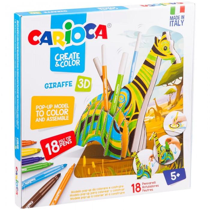Carioca Набор для рисования Giraffe 18 фломастеров и сборная подставка от Carioca