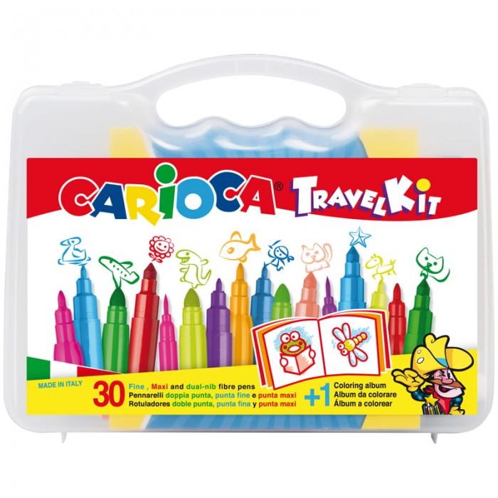 Принадлежности для рисования Carioca Набор для рисования 30 фломастеров и раскраска carioca набор фломастеров carioca jumbo 12 цв в картонной коробке с европодвесом