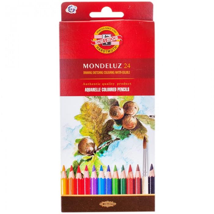 Купить Карандаши, восковые мелки, пастель, Koh-i-Noor Карандаши акварельные Mondeluz европодвес 24 цвета