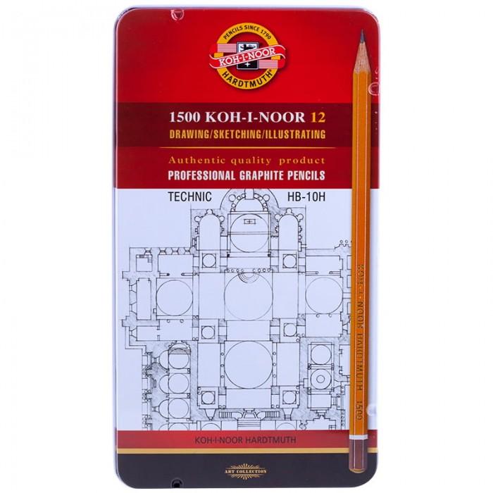 Карандаши, восковые мелки, пастель Koh-i-Noor Набор карандашей 1500 Technic HB-10H 12 шт.