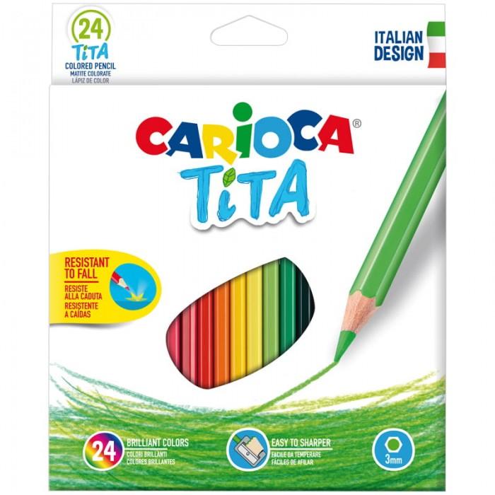 Карандаши, восковые мелки, пастель Carioca Карандаши цветные пластиковые Tita 24 цвета 42794