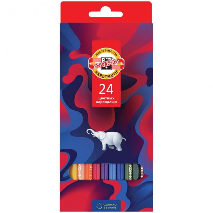 Карандаши, восковые мелки, пастель Koh-i-Noor Карандаши цветные Элефант 24 цвета карандаши цветные 18цв 7 wonders к к подвес koh i noor кохинор