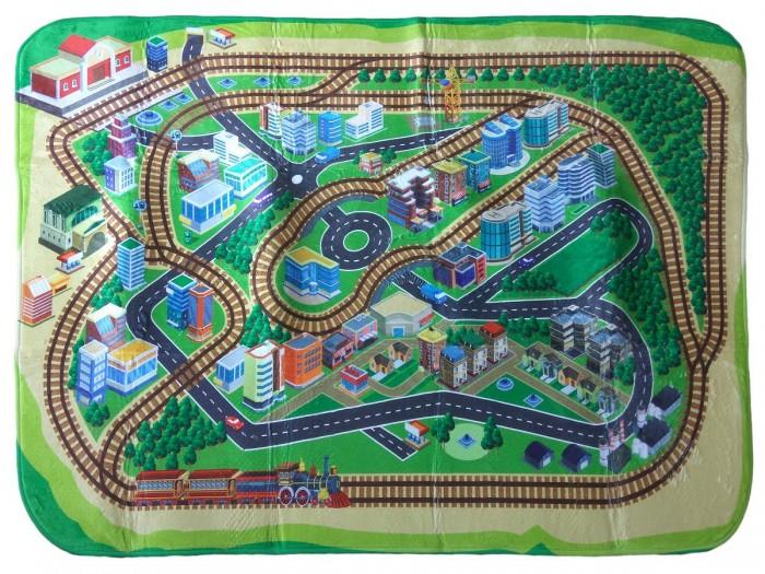 Игровой коврик Teplokid ультрамягкий Железная дорога 130х180 см