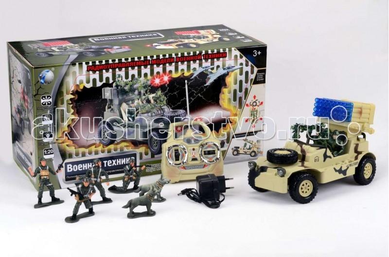 Tongde Машинка военная на Р/У с набором солдат В72193Машинка военная на Р/У с набором солдат В72193Игрушка TongDe В72193 на радиоуправлении Военная техника Джип с ракетной установкой и солдатиками - полнофункциональная модель, выполненная в масштабе 1:20. Машинка двигается вперёд и назад, поворачивает влево и вправо, а также преодолевает подъёмы в 30 градусов. Более интересной игру делает набор солдатиков с собаками - можно устраивать настоящий бой или осуществлять поиск вражеских диверсантов с помощью джипа. Кроме того, игрушка обладает звуковыми (звуки выстрелов и шум мотора) и световыми (свет фар и подсветка ракетной установки) эффектами.  Комплектация:   машинка с экипажем пульт управления  аккумулятор 4,8V  зарядное устройство  4 фигурки солдатиков и 2 фигурки собак  Особенности:  Размеры упаковки: 50,5х28х22 см Вес: 2.833 кг Объем: 0.0354259<br>