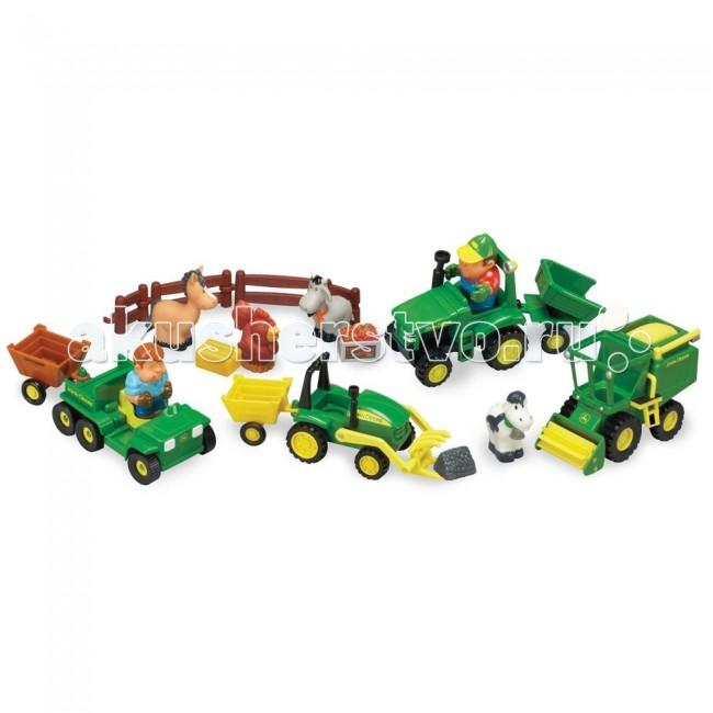 Tomy Игровой набор Веселая Ферма 20 деталейИгровой набор Веселая Ферма 20 деталейБольшой подарочный набор Веселая Ферма - это целый мир для увлекательной игры.   В состав набора входит фермерский транспорт, который можно катать руками - 2 трактора, комбайн, машинка для перевозки урожая, фигурки животных - лошадка, курочка, коровка, овечка, 2 человечка, и еще различные игровые аксессуары.   Игрушки изготовлены из высококачественного мягкого пластика, из безопасных для малышей материалов.  Вес: 2 кг Объем: 0.023 Размер коробки: 39х41х14 см<br>