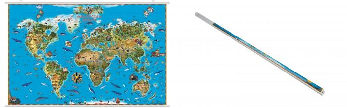 Ди Эм Би Карта Мира Обитатели Земли ламинированная на рейках в прозрачном пластиковом тубусе фото