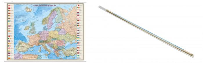 Ди Эм Би Карта Зарубежная Европа Политическая с флагами 1:32М ламинированная на рейках в прозрачном пластиковом тубусе