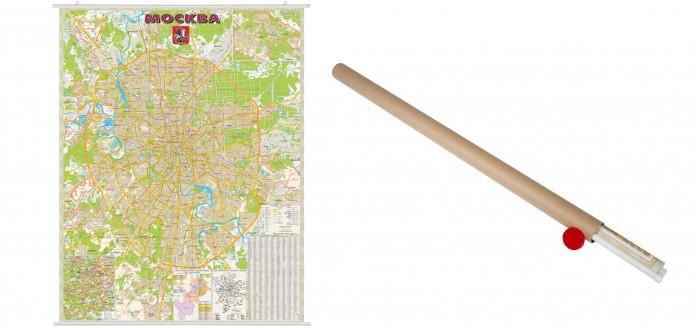 Ди Эм Би Карта Москва Административная 1:40т Мкад+ ламинированная на рейках в картонном тубусе