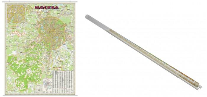 Ди Эм Би Карта Москва Административная 1:90т с присоединенными территориями ламинированная на рейках в прозрачном пластиковом тубусе