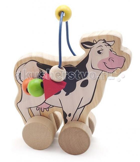 Каталки-игрушки Мир деревянных игрушек (МДИ) Лабиринт-каталка Корова игрушка мир деревянных игрушек лабиринт каталка крокодил д362