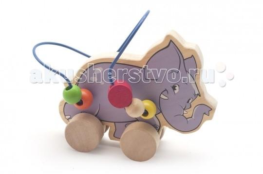 Каталка-игрушка Мир деревянных игрушек (МДИ) Лабиринт-каталка Слон