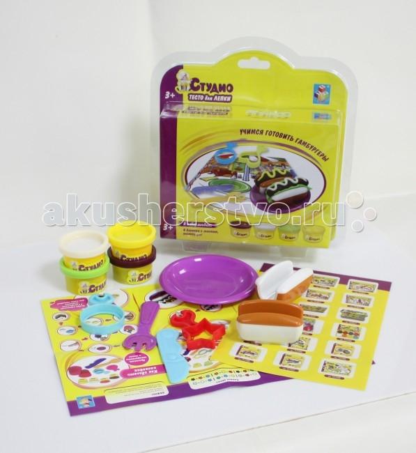 Всё для лепки 1 Toy Студио Набор теста для лепки Гамбургеры 4 цвета всё для лепки lori пластилин классика 16 цветов