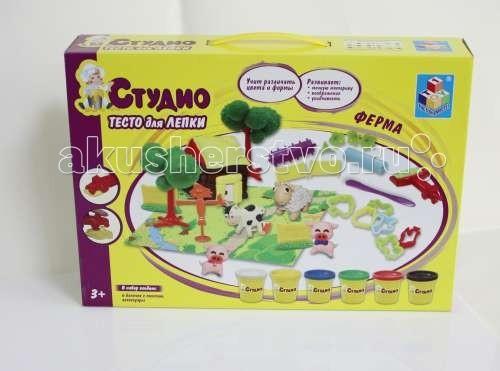Всё для лепки 1 Toy Студио Набор теста для лепки Ферма 6 цветов всё для лепки 1 toy набор теста для лепки кексы 4 цвета