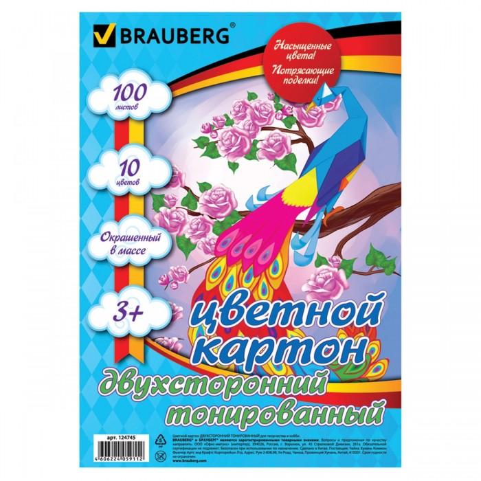 Купить Канцелярия, Brauberg Картон цветной А4 Тонированный в массе 10 цветов в папке 100 листов