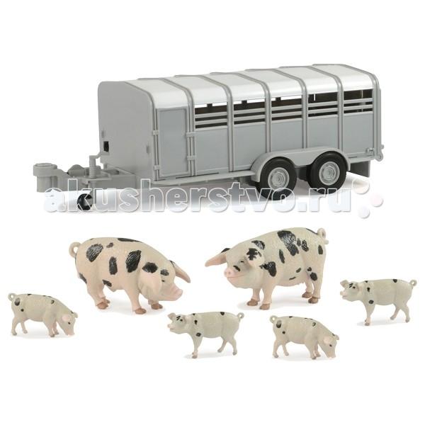 Tomy Britains Big Farm Фермерский прицеп со свинкамиBritains Big Farm Фермерский прицеп со свинкамиИгровой набор Britains Big Farm Фермерский прицеп со свинками Tomy - реалистичная игрушка, которая порадует всех юных любителей сельскохозяйственной техники и станет прекрасным дополнением в их коллекции.   Двухосный прицеп, выполненный в масштабе 1:16, оснащён тягово-сцепным устройством и регулируемым опорным колесом.   Имеется выдвижной пандус с поручнями для удобной погрузки свиней.  В комплект входят прицеп, 2 фигурки свиней и 4 фигурки поросят.  Благодаря высококачественному прочному пластику прицеп замечательно подойдет и для игр на улице.  Совместим с другими моделями и игрушками серии Britains Big Farm.  Размеры прицепа 30.5х14.5х9 см.<br>