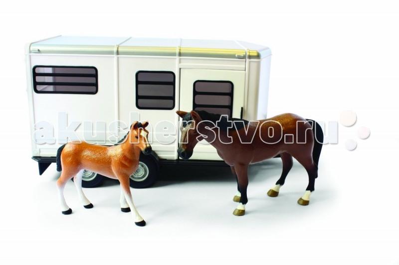 Игровые наборы Tomy Britains Big Farm Прицеп для перевозки лошадей с лошадью и жеребенком игровые наборы tomy britains big farm фермерский прицеп со свинками