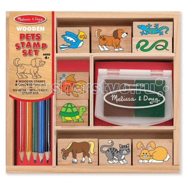 Развитие и школа , Принадлежности для рисования Melissa & Doug Набор печатей Домашние животные арт: 73865 -  Принадлежности для рисования