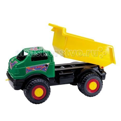 G.B.Fabricantes Супергрузовик 81 смСупергрузовик 81 смG.B.Fabricantes Супергрузовик 81 см - понравится любому мальчишке. С таким грузовиком можно отлично провести время играя на улице, либо в просторной квартире.   Его конструкция довольно оригинальна — яркая зелёная обтекаемая кабина, большой жёлтый подъёмный кузов, чёрное шасси и цветные вездеходные колёса.   С помощью подъёмного кузова, малыш сможет без труда загружать и разгружать грузовик, для этого сбоку предусмотрен специальный рычажок. А огромные колёса помогут проехать практически по любой поверхности, даже по песку.   В просторную кабину малыш сможет усадить маленькую фигурку человечка, который будет управлять грузовиком.<br>