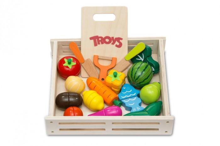Деревянная игрушка Troys Набор Овощи и фрукты (18 деталей)