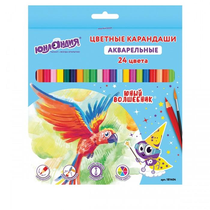 Карандаши, восковые мелки, пастель Юнландия Карандаши цветные Юный волшебник 24 цвета