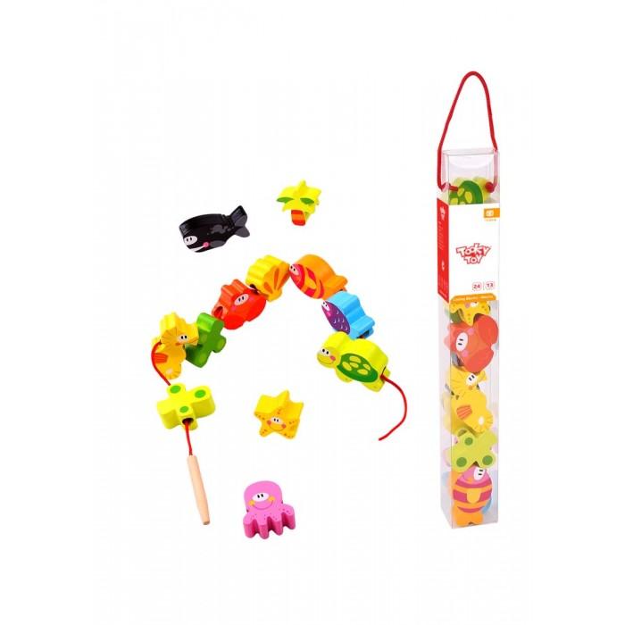 Деревянные игрушки Tooky Toy Развивающий набор шнуровка Морские обитатели деревянные игрушки viga пазл морские обитатели