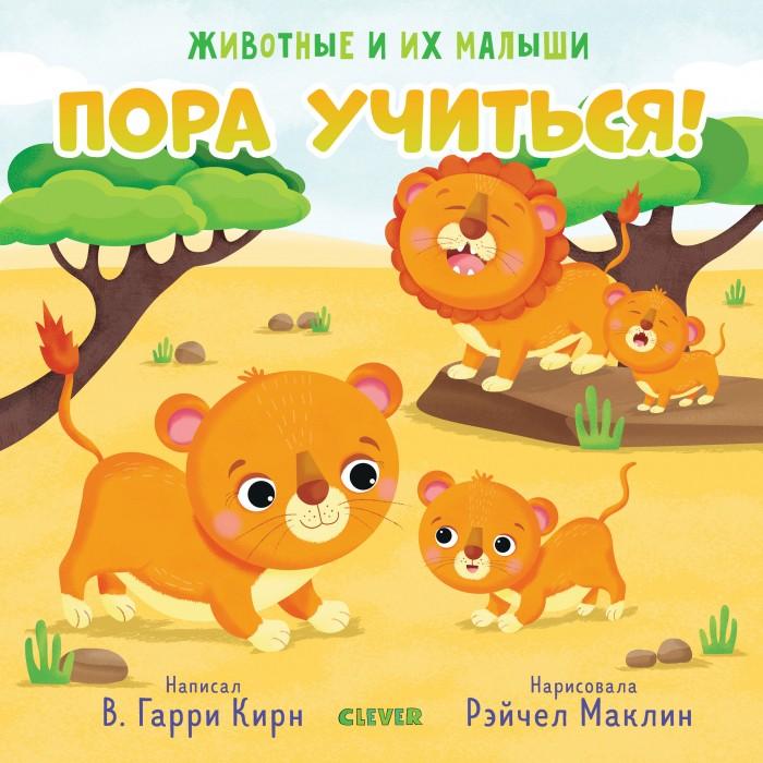 Книжки-картонки Clever Животные и их малыши Пора учиться! животные и их малыши пора купаться
