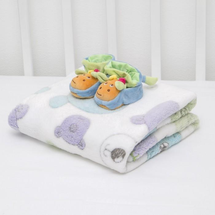 Плед Baby Nice (ОТК) Velsoft Разноцветные мишки 100х118 + пинетки фото