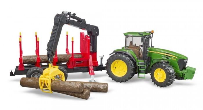 Картинка для Bruder Трактор John Deere c прицепом с манипулятором и 4 брёвнами