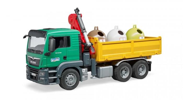 Купить Машины, Bruder Самосвал MAN c 3 мусорными контейнерами