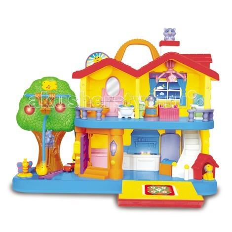 Kiddieland Развивающая игрушка Занимательный домРазвивающая игрушка Занимательный домKiddieland Развивающая игрушка Занимательный дом - уютный двухэтажный коттедж с небольшой лужайкой, снабженный звуковыми и световыми эффектами. При нажатии или повороте фигурок слышны разнообразные звуки и мелодии. В доме есть кухня, спальня, гостиная и ванная. Также имеется собачья будка, возле которой сидит собачка.  Дайте детям возможность обучиться всему, что происходит в доме в веселой и познавательной манере! Этот красочный дом полон сюрпризов, игровых возможностей, восхитительных лампочек и веселых звуков! Полностью оборудованная кухня, уютная спальня, ванная комната, красивый сад с собачьей будкой.  На кухне есть плита со светящимися конфорками и раковина. В спальне - изящная кровать, прикроватная тумбочка с ночником, журнальный столик. На окнах - занавески, на потолке - большая люстра. В ванной комнате - большое зеркало с раковиной, ванна, унитаз с закрывающейся крышкой. В гостиной - кресло, телевизор и ковер.  Входная дверь снабжена настоящим звонком, в прихожей - шкафчик для обуви. На крыше дома есть подвижное солнышко, труба, из которой выглядывает кошка, а также ручка, с помощью которой домик можно переносить с места на место.  Возле дома большое дерево со светящимися яблоками, птичкой-кнопкой (при нажатии на нее птичка поет). На турнике возле дерева крутится обезьянка, на земле около дерева - вращающаяся бабочка. Кроме того, у дома припаркована машинка.  Для работы требуются 2 батарейки АА (входят в комплект).<br>
